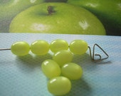 12 Limon Jelly Beans Vintage Moonglow Lucite Beads Oval Yellow Green
