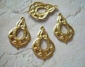 Vintage Brass Connector Drops Filigree Stamping Art Nouveau 4