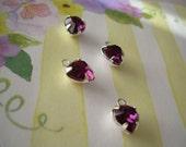 4 Heart Charms Vintage Swarovski Purple Rhinestone SP Drop Amethyst Crystal