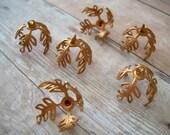 6 Vintage Copper Brass Leaf Bead Cap with Loop 15mm Adjustable