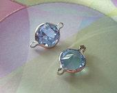 2 Vintage Swarovski Connectors Lt Sapphire Blue Silver Findings 2 Loop
