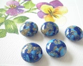 5 Vintage Lucite Thermoset Beads Royal Blue 14 mm Lentils Old Vendome Stock