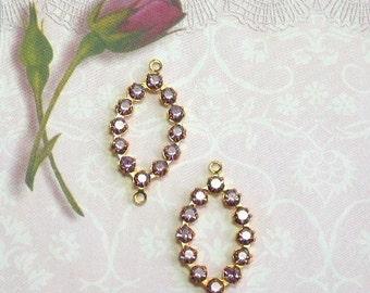 2 Vintage Swarovski Rhinestone Connectors Purple Prong Set Lilac Crystal Findings