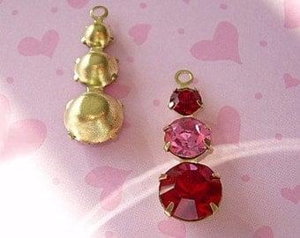 Vintage Swarovski Rhinestone Drops Red Pink Findings Prong Set Brass