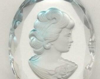 Vintage Crystal Intaglio Pendant Cameo Cabochon Elegant Lady in Blue