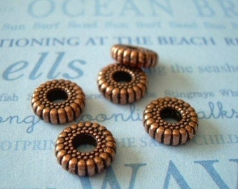 10 Vintage Lucite Beads Copper Ribbed Rondelle Spacer Black Accents