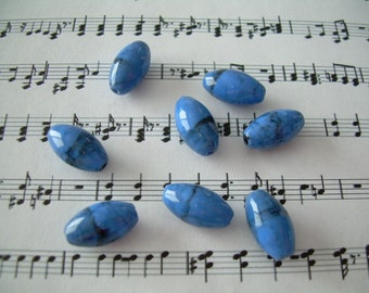 10 Blue Skies Vintage Lucite Beads Oval Charcoal Accents