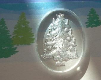 Vintage Glass Intaglio Cab Cameo Christmas Tree W Germany
