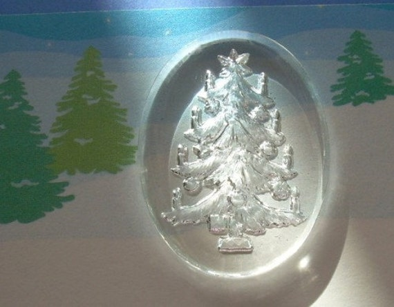 Vintage Glass Intaglio Cab Cameo Christmas Tree W Germany