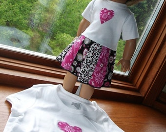 Matching Dressy, Embellished T-Shirts for Girl and Doll