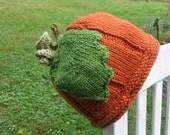 Pumpkin Beanie Hat Hand Knit Orange Farmer's Market Vegie Hat From Textilesone Handmade Adult Size Ready To Ship