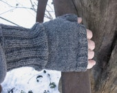 Knit Man Mitts Fingerless Mittens Gloves Steel Grey 100% Wool Classic Mens Medium to Large Size Handmade Cold Weather Gear Ready to Ship