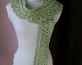 Knit Lace Scarf Wrap a Touch of Lace Stylish Wardrobe Accessory Lime Sherbet Scarf Hand Knit Vintage Lace Pattern Ready to Ship