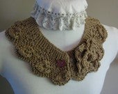 Lace Collar Necklace Cotton Neck Frill Eyelets and Leaf Design Vintage Inspired Handmade Knit Lace Ready to Ship