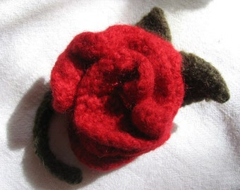 Felted Rose Brooch Fiber Jewelry Wool Pin Brooch Red Red Rose Hand Knit by Textilesone Ready To Ship