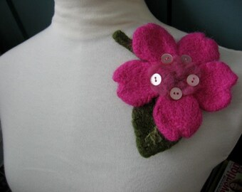 Felted Pin Brooch Button Pink Posey Flower from The Knitted Garden by Textilesone