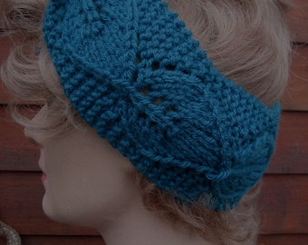 Headband Ear Warmer Vintage Inspired Teal Hand Knit Leaf Lace Retro Turban Head Wrap Original Design by Textilesone Ready to Ship
