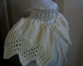 Petticoat Lace Collar in Ivory Knit Lace Capelet Vintage Inspired for an Old Fashioned Girl by Textilesone Ready to Ship