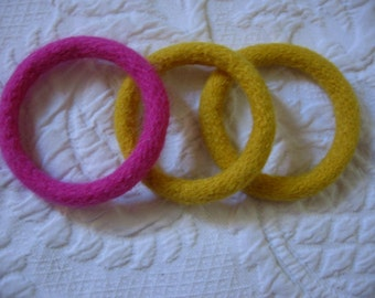 Felted Wool Bracelets Bangles Set of Three Handmade Fiber Jewelry from Textilesone Ready to Ship