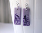 Purple Polymer Clay Earrings with White Stamped Swirls, Handmade Jewelry, Wearable Art