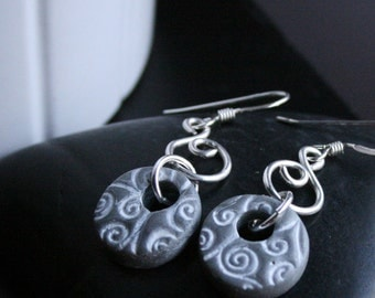 Double Silver Polymer Clay Earrings with White Stamped Swirls, Handmade Jewelry, Wearable Art