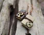 Heart Lock & Key Miniature book earrings brown cream leather