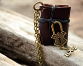 MiniatureBook Necklace Lock & Brown Color leather