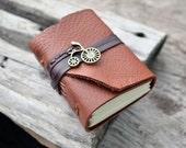 MiniBook  A8 Vintage bicycle &  Brown Orange leather