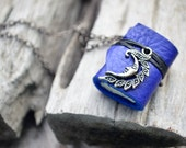 SALE 50%MiniatureBook Necklace Crescent & Ultramarine Blue leather