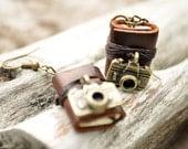 Camera Miniature books earrings Brown leather