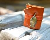 S.A.L.E 50% MiniatureBook Necklace Fish & Orange leather