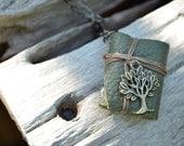 MiniatureBook Necklace Tree & Green leather