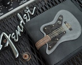 New!!!! Hand Stitch Men Wallet Guitar & Silver Color leather