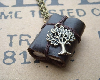 Tree Dark Brown MiniatureBook Necklace