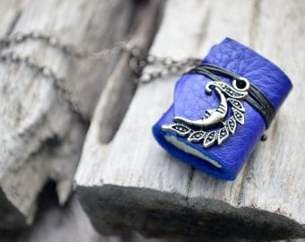 SALE 50%MiniatureBook Necklace Crescent & Ultramarine Blue leather