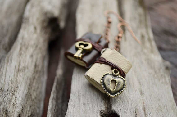 SALE 50% Heart Lock & Key Miniature book earrings brown cream leather
