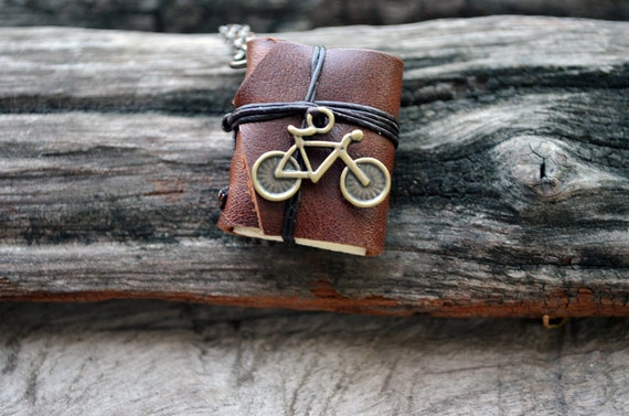 MiniatureBook Necklace Bicycle &Tan Brown Color leather