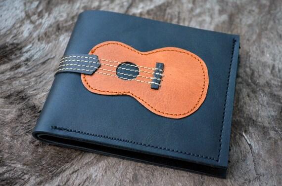 Men Wallet Ukulele Wood Color leather