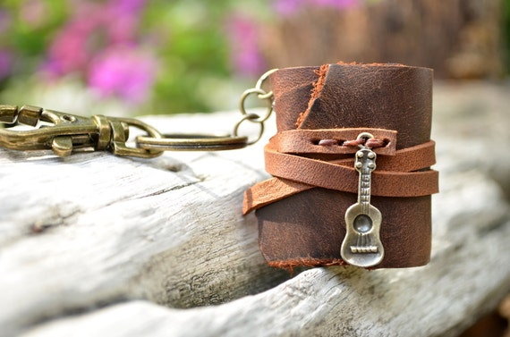 Miniature Book keychain Ukulele & Brown color