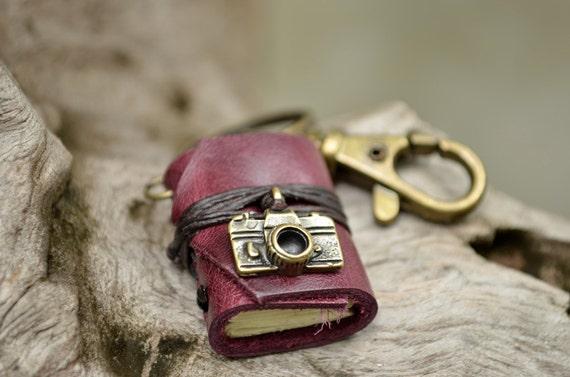 SALE 50% Miniature Book keychain Camera & Purple grapes color