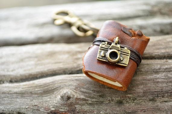 Miniature Book keychain Camera & vintage tan color