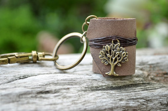 Miniature Book keychain Tree & Vintage Gray color