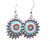 Handcrafted  blue with red spiral design dangle earrings with sterling silver earwires