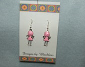 Handcrafted pink little girl dangle earrings with sterling silver earwires