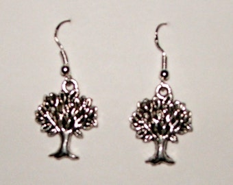Handcrafted little lucky tree dangle earrings with sterling silver earwires.