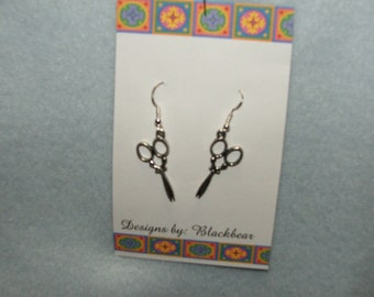 Handcrafted silvertone scissor design dangle earrings with sterling silver earwires