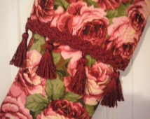 Quilted Christmas Stocking with Roses and Fringed Braid Trim