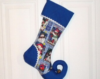 Christmas Stocking with Snowman Print, Curly Elf Toe, and Quilted Cuff
