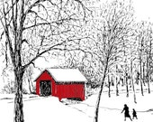 SALE Covered Bridge Holiday Note Set of 20