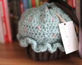 Soft and squishy wool roving crochet cupcake purse with sprinkles MINT AND CHOCOLATE